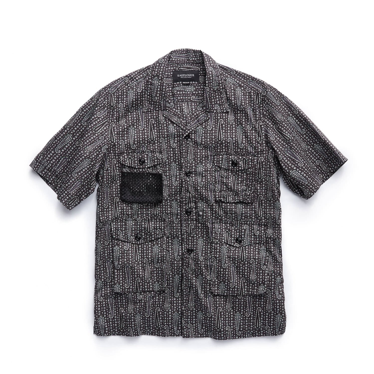 EASTLOGUE 4 Pocket Utility Half Shirts (Black Paisley)