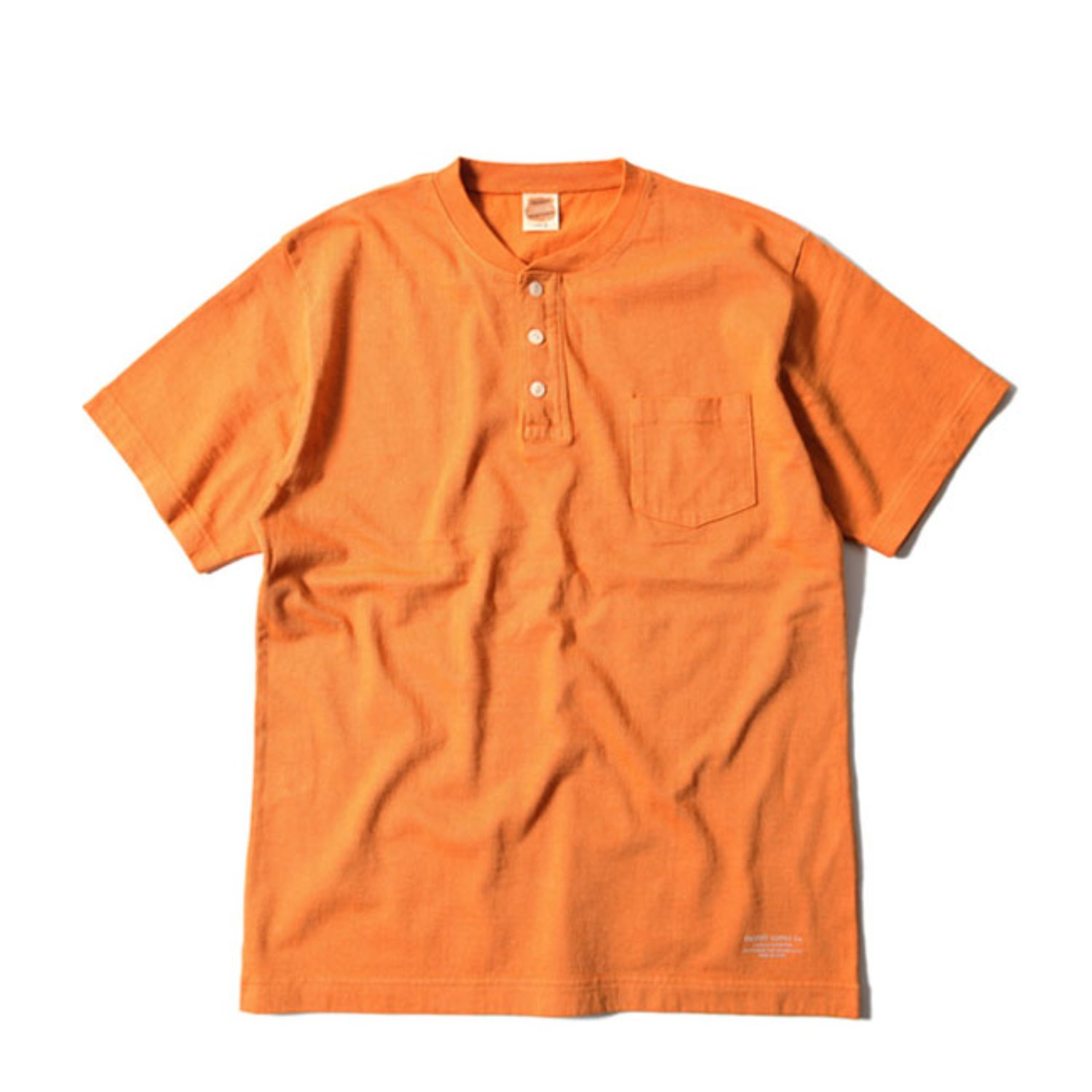 OD Volume Cotton Henley Tee (Orange)