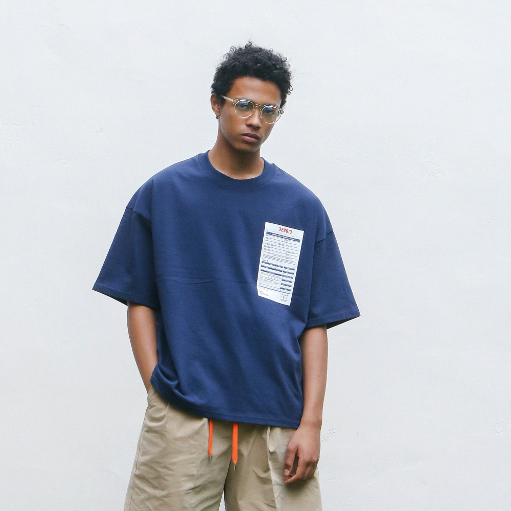 Hotel Guest Resigrration Oversiezed Tee (Mid Navy)