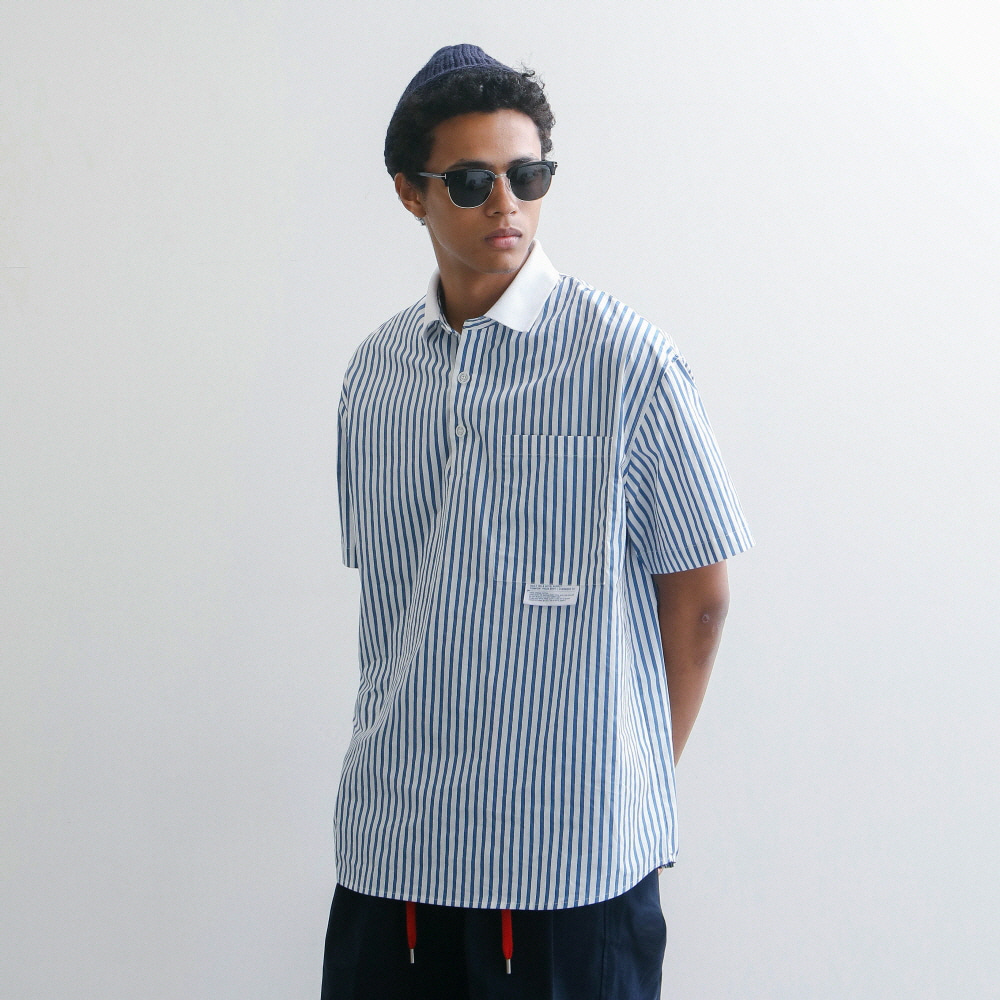 Lobby Boy Oversized 12 Pique Shirts (Blue Stripe)