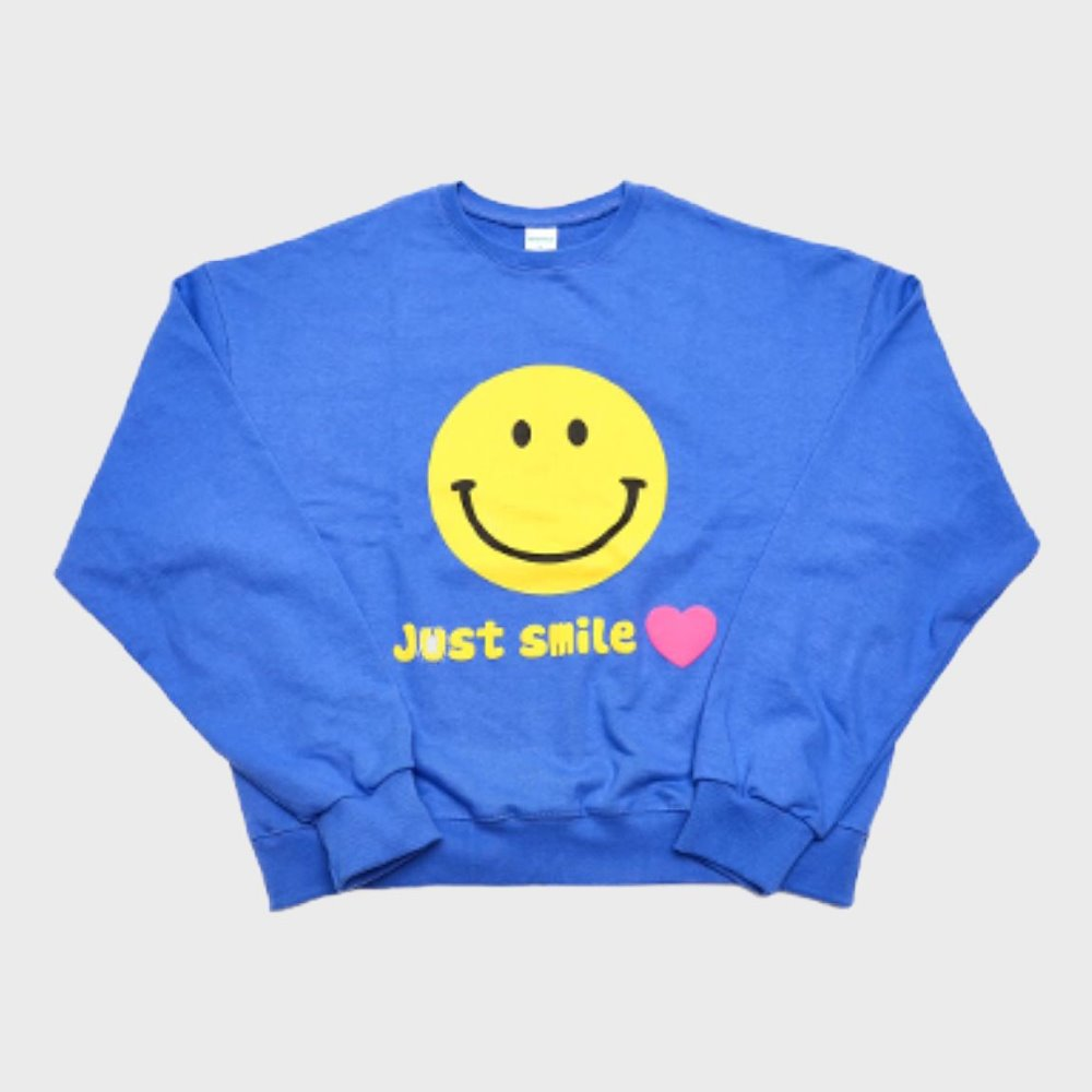 Smile Sweat Shirts (Cobalt Blue)