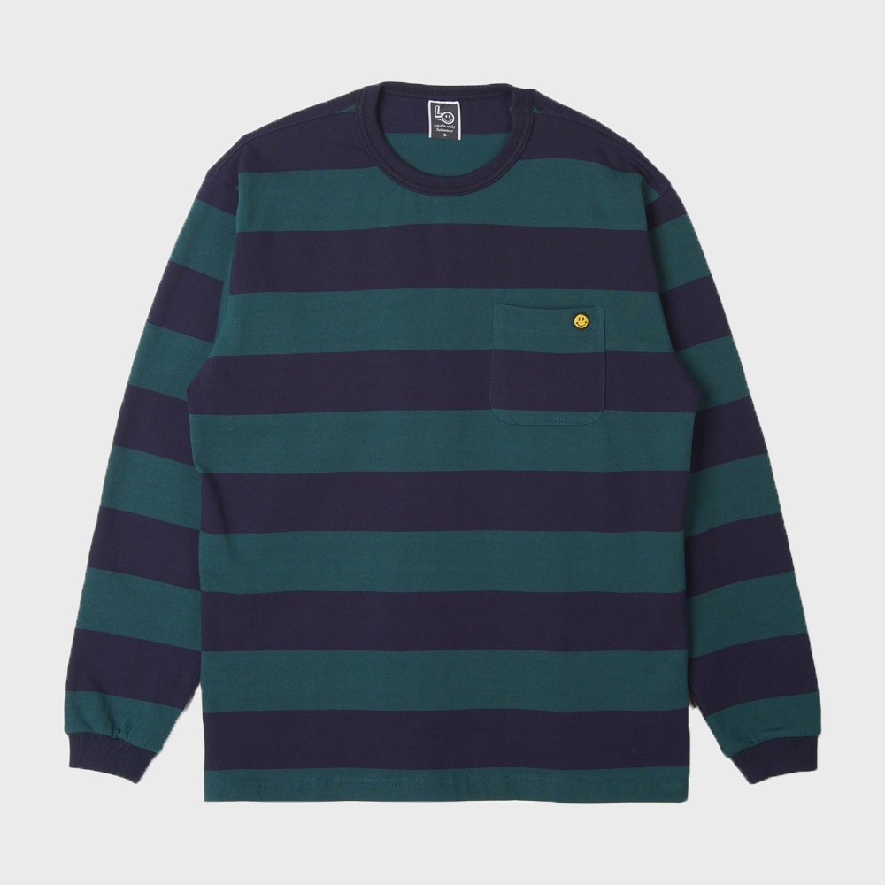 LOCALS ONLY Big Border Stripe Pocket L/S (Green / Black)