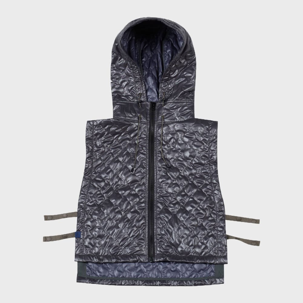 Quilted Hoodie Vest (Khaki)