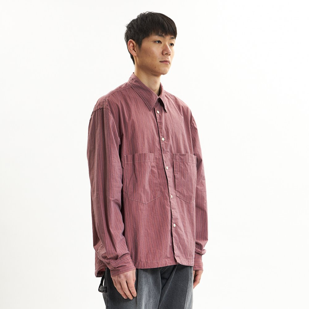 Oversized Shirts - Coral Red & Blue Stripe