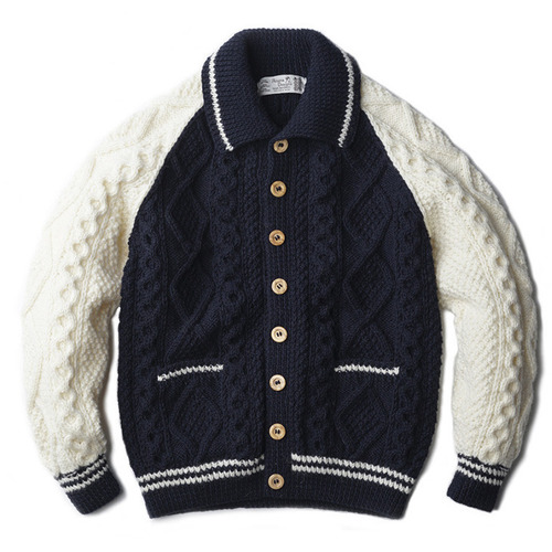 "Athena Designs 2S Collar Cardigan Crazy ""Navy / White"""