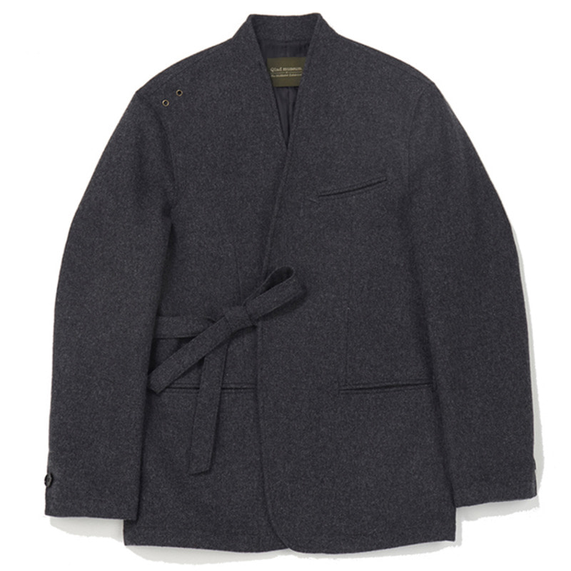 Qlad Museum Quiet Wool Tied Jacket (Charcoal Grey)