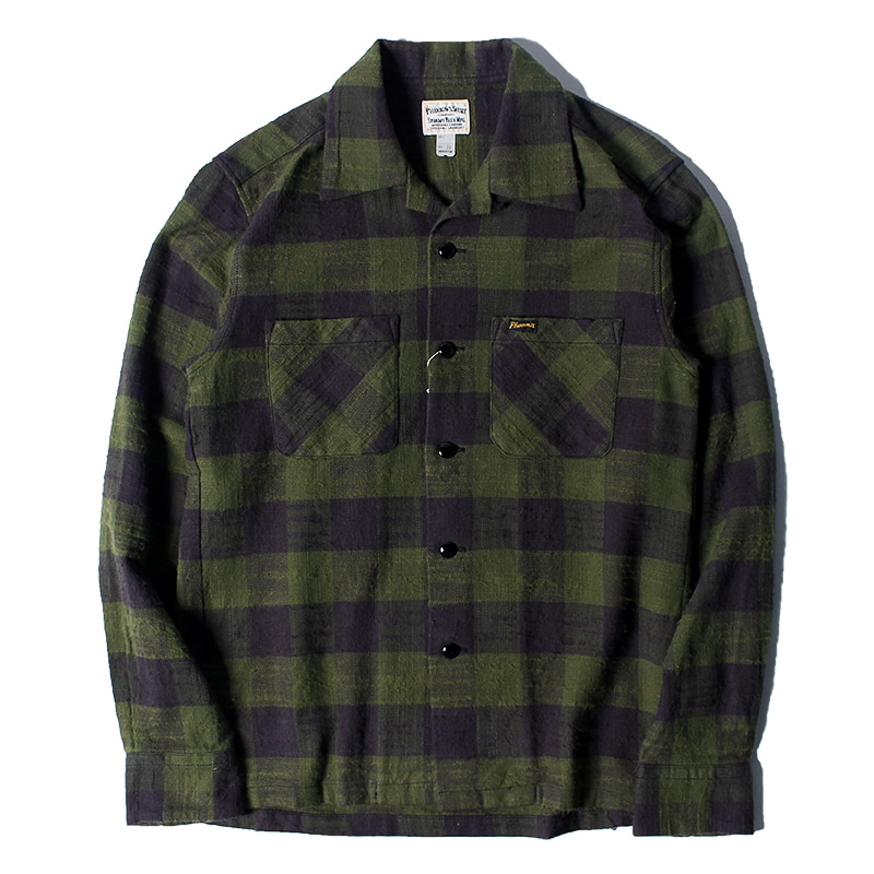 Pherrow's Open Collar Flannel Check Shirts (Green)