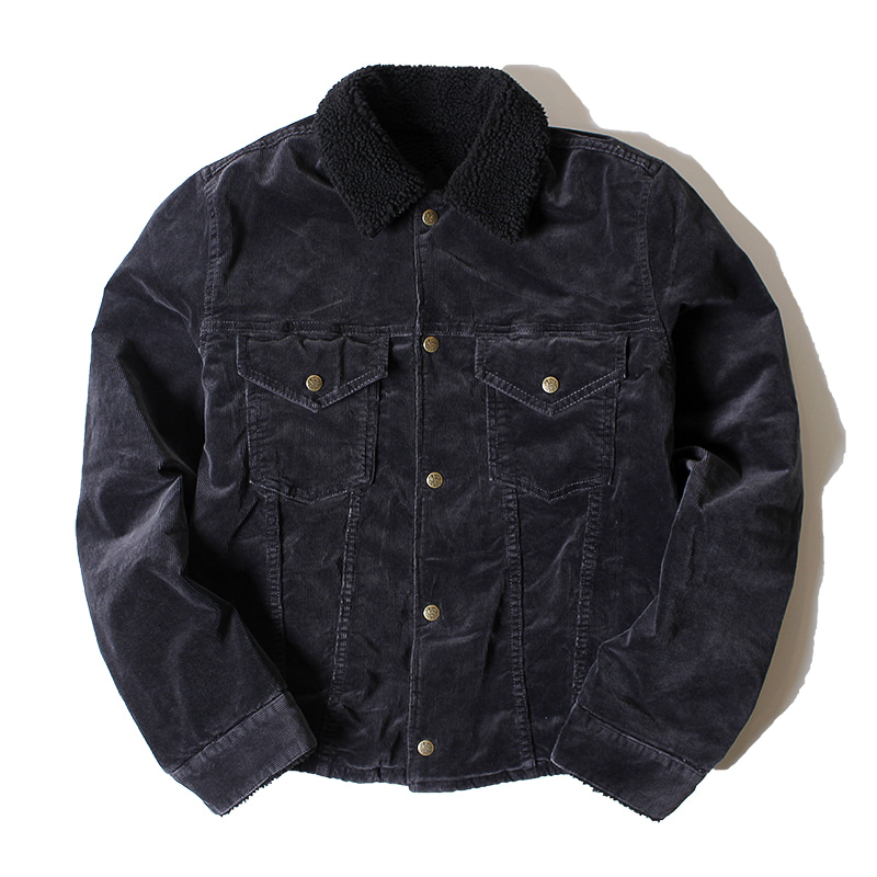 PIG & ROOSTER Country Corduroy Boa Jacket (Black)