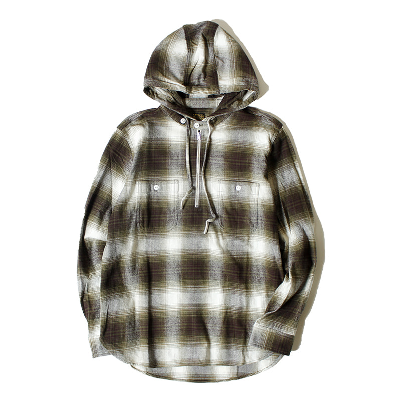 PIG & ROOSTER Flannel Check Hoodie Shirt (Olive)