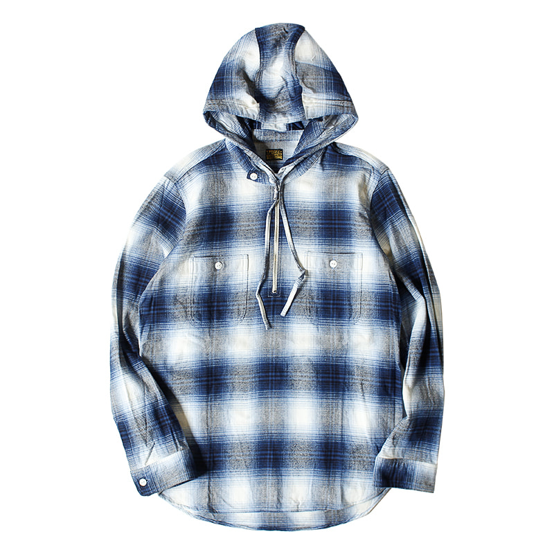 PIG & ROOSTER Flannel Check Hoodie Shirt (Navy)