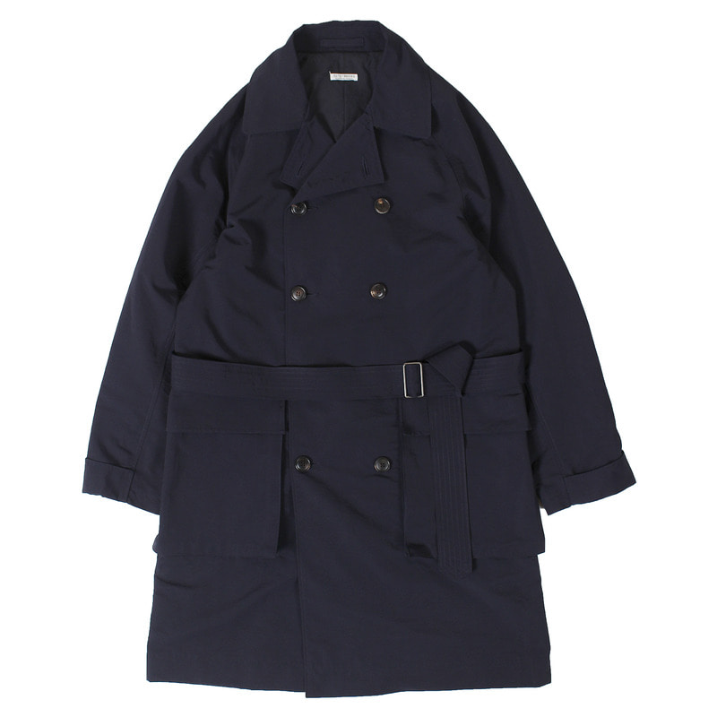 Hooded Double Coat (Navy)
