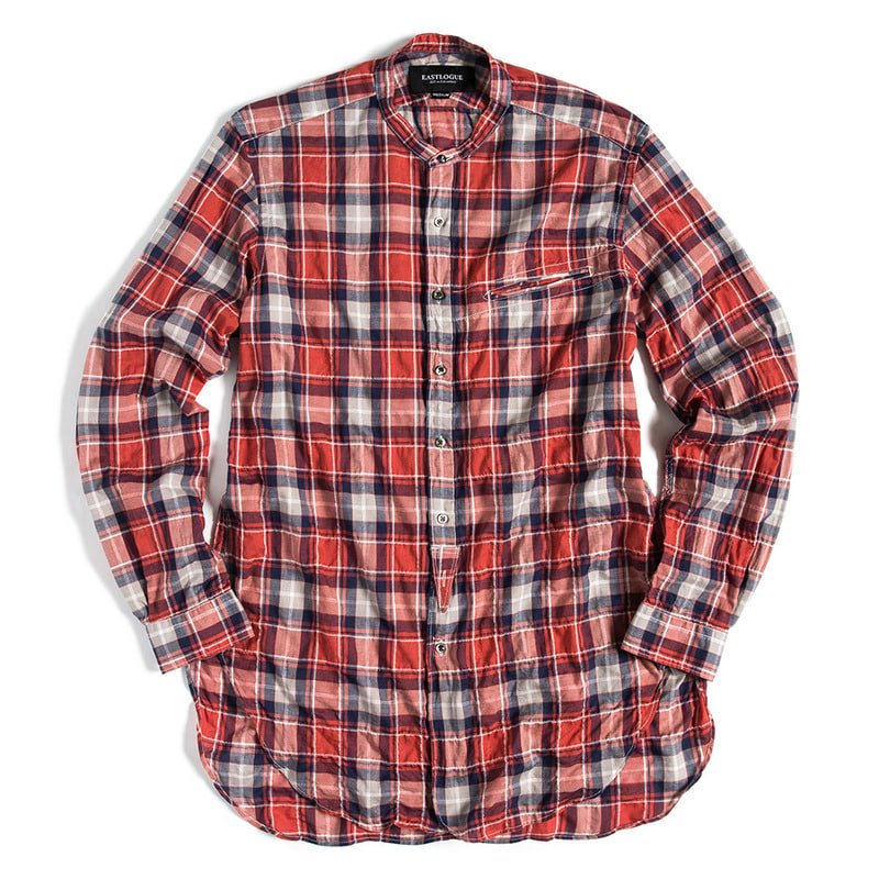 Banded Collar Long Shirt (Red & Navy Check)