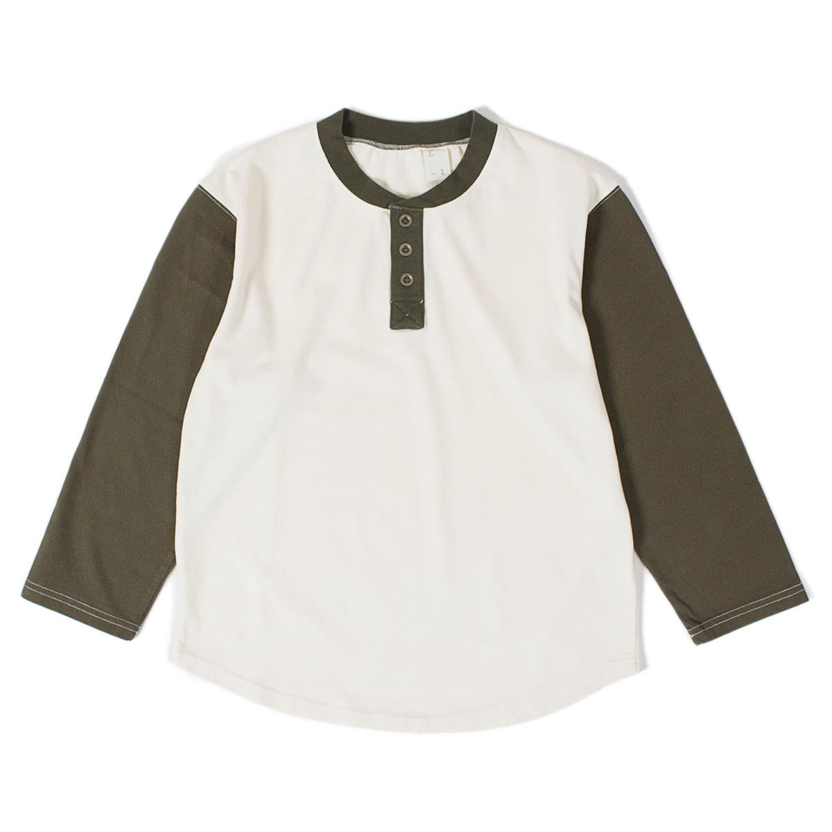 Cotton Button 7-9 Sleeve T (Ivory / Khaki)