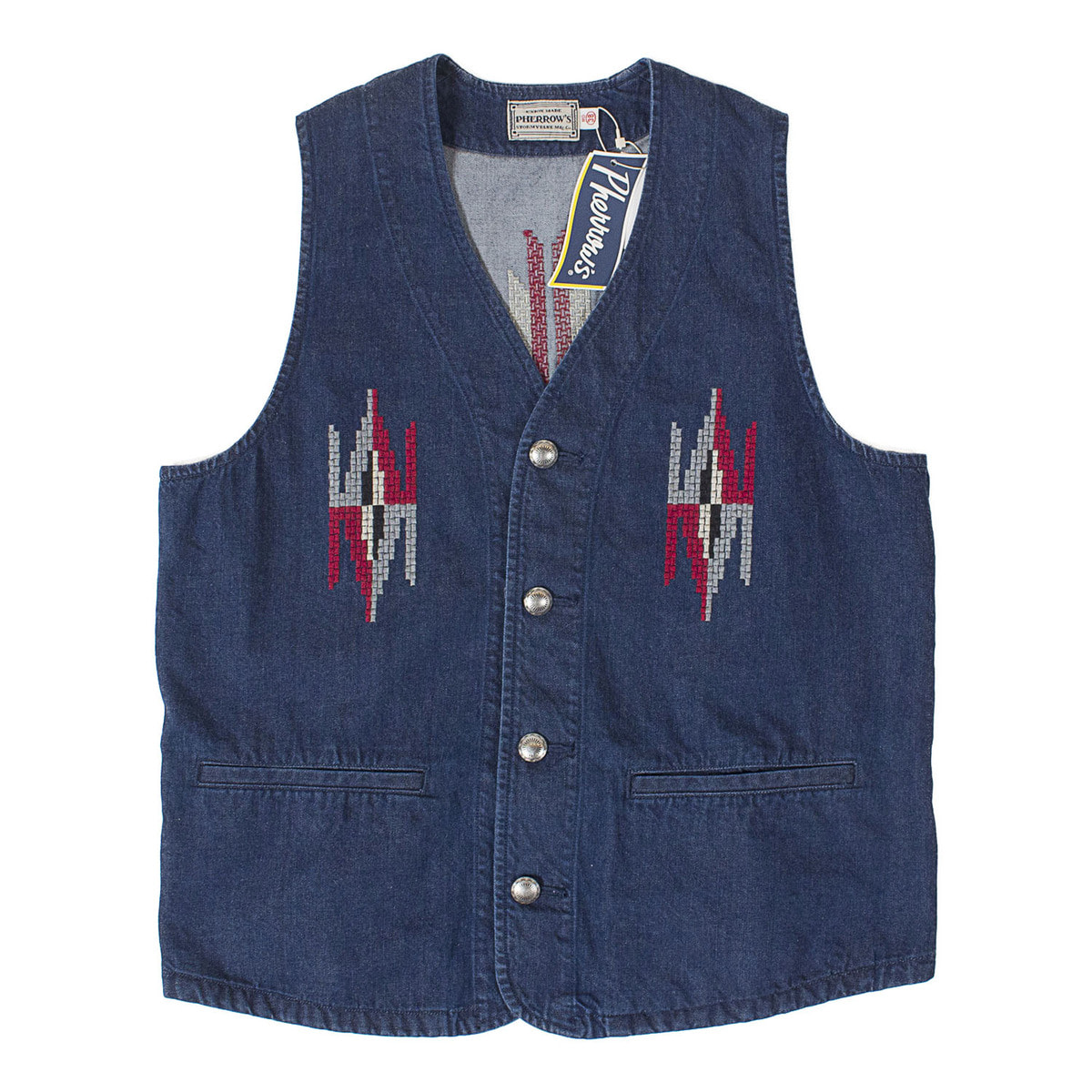 Rag Pattern Embroidery Vest (Denim)