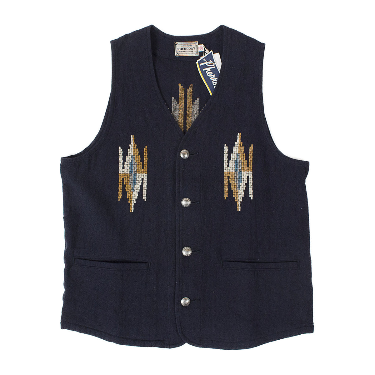 Rag Pattern Embroidery Vest (Black)