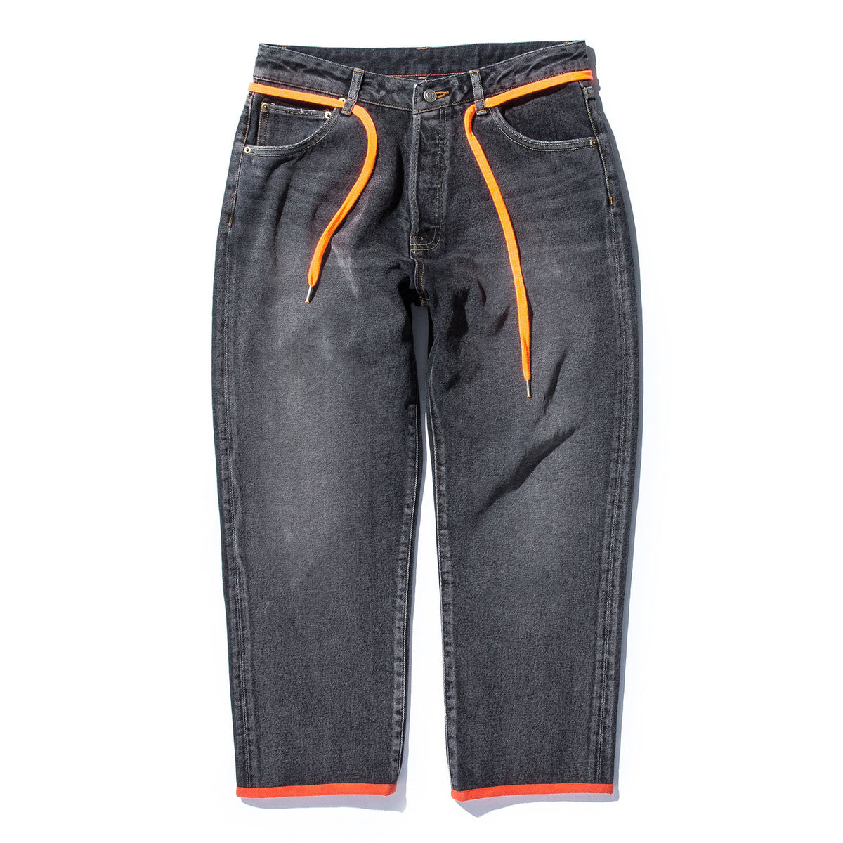 Cropped Pt (12.5oz Washed Denim) (B4) Black & Orange