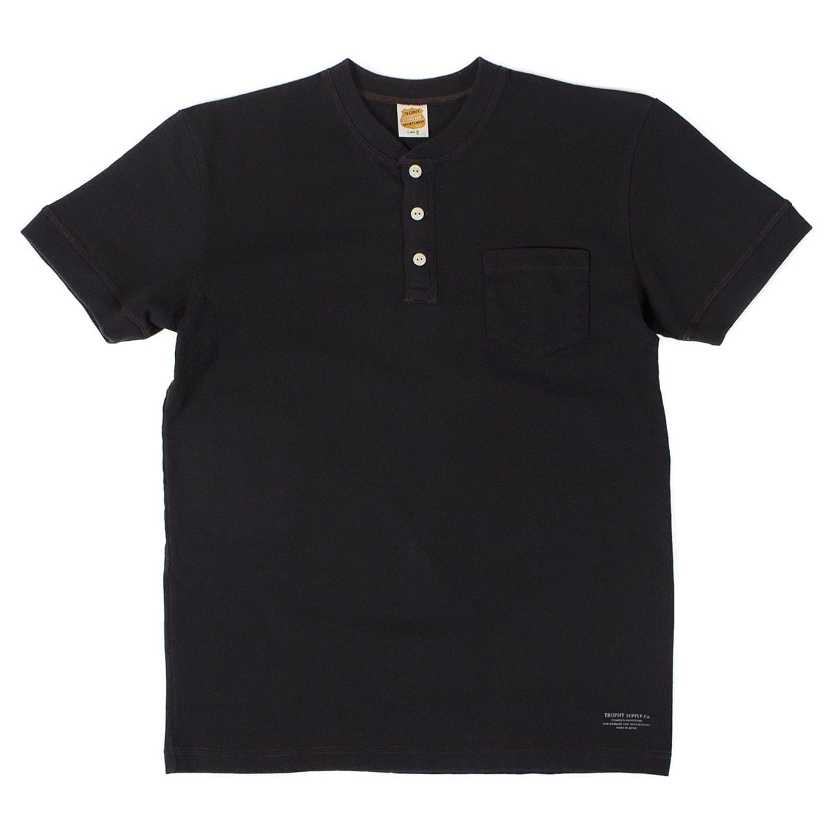 Volume Cotton Henley Tee (Black)