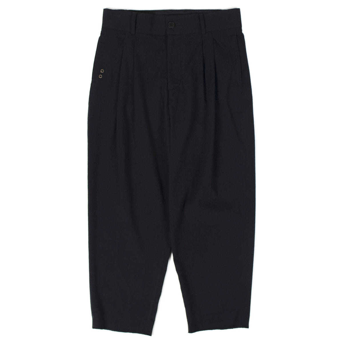 Inno Pleated Seersucker Pants (Black)