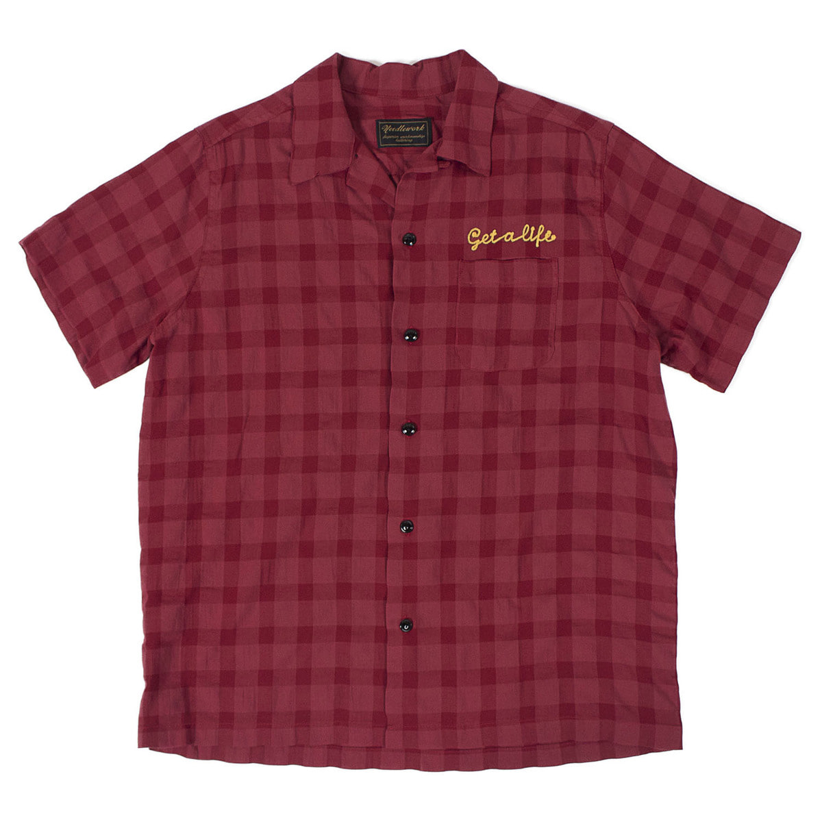 Rayon Check Shirts (Burgundy)
