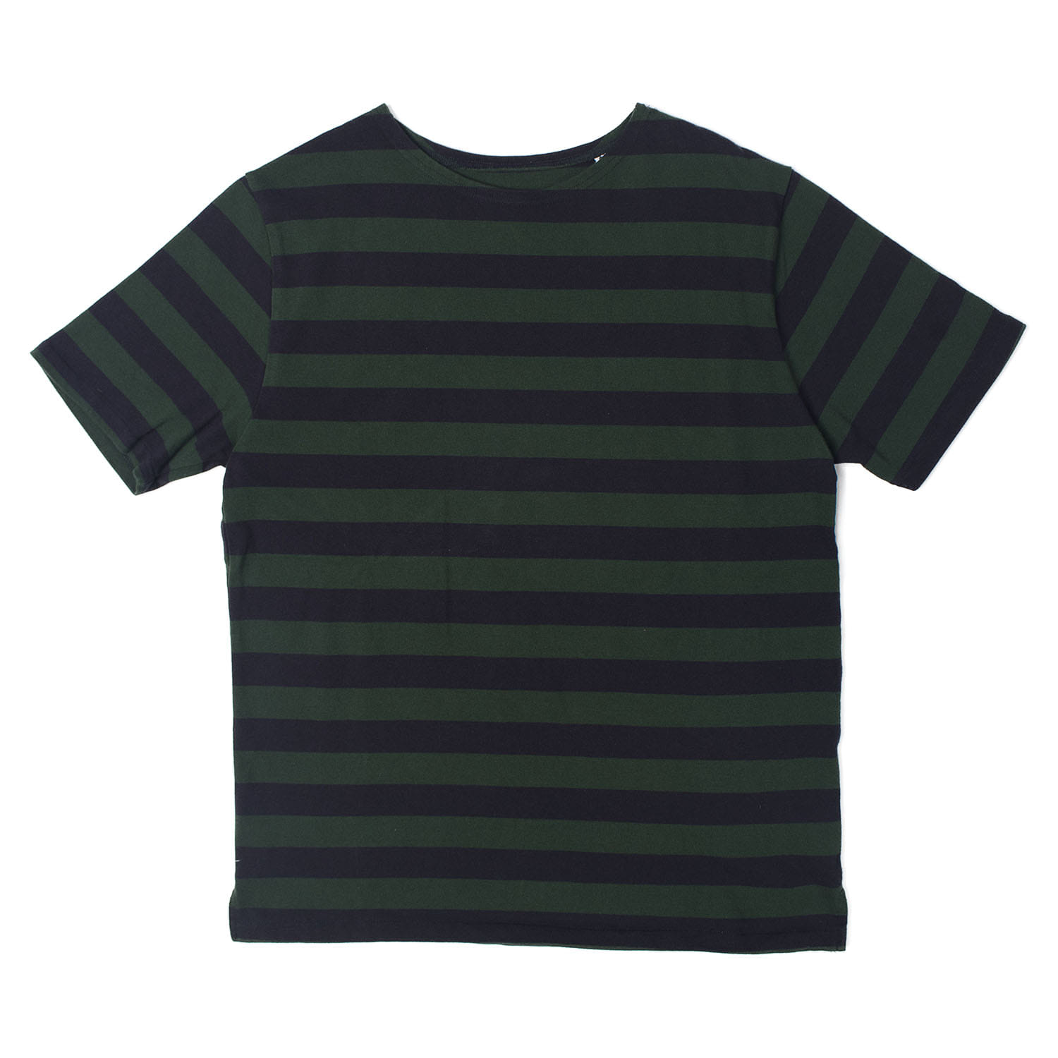 2.5 Border Boat Neck S-Sleeve (Green / Nay)