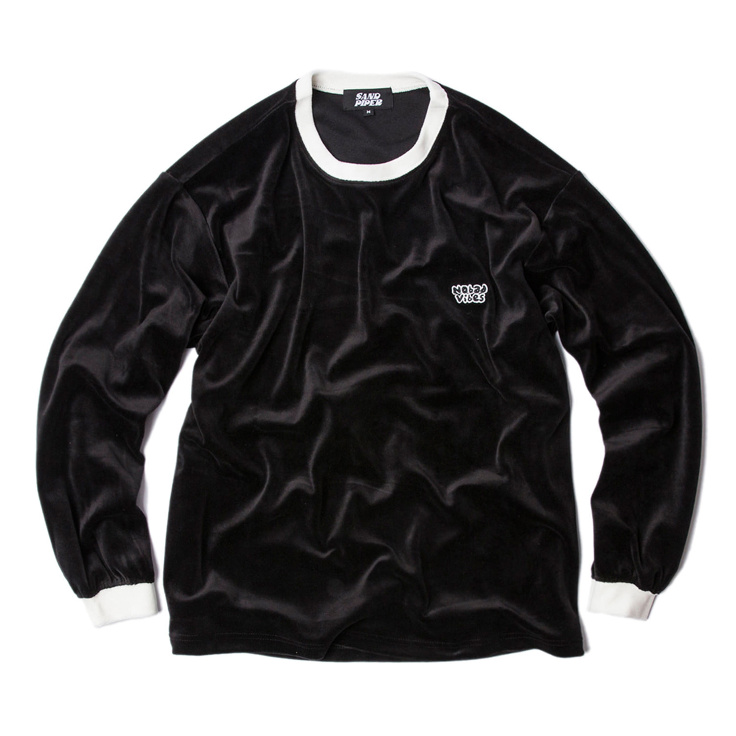 Velour Crew Neck Shirts (Black)