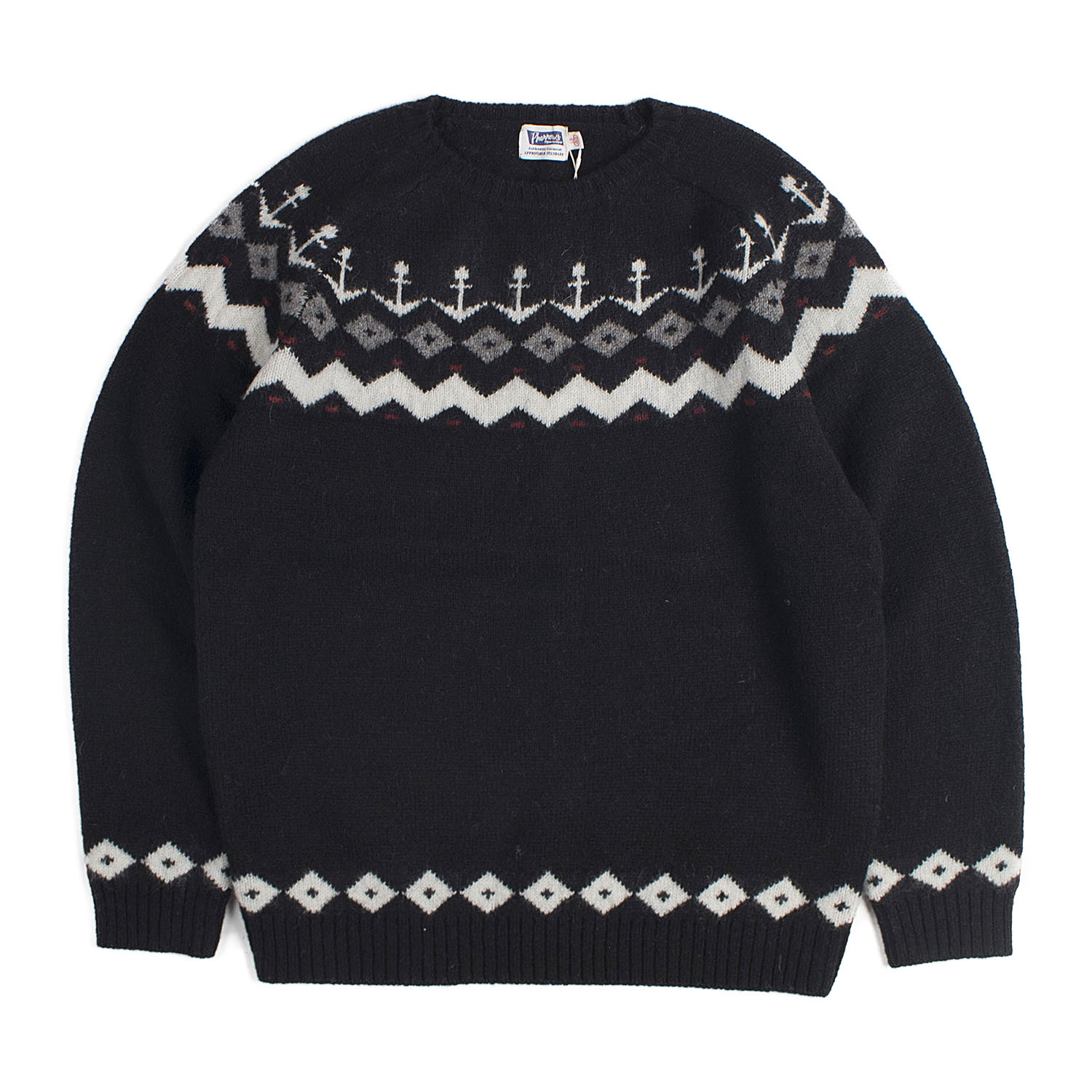 Nordic Snow Pattern Wool Knit (Black)