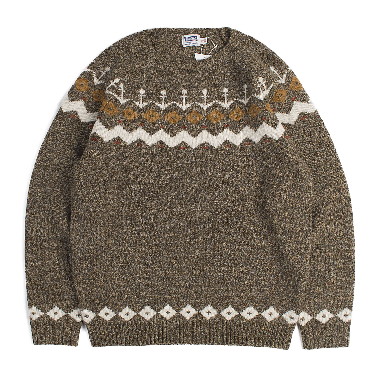 Nordic Snow Pattern Wool Knit (Olive)