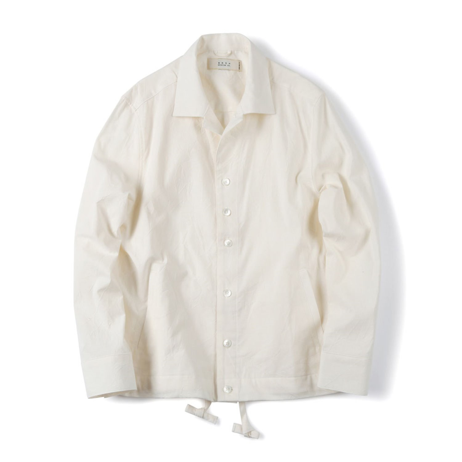 Shirter Drawsting Chambray Jacket (White)