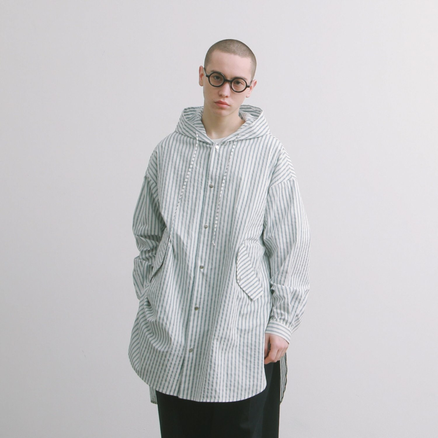 Doorman Oversized Long Shirt  Jacket (L.Blue Stripe)