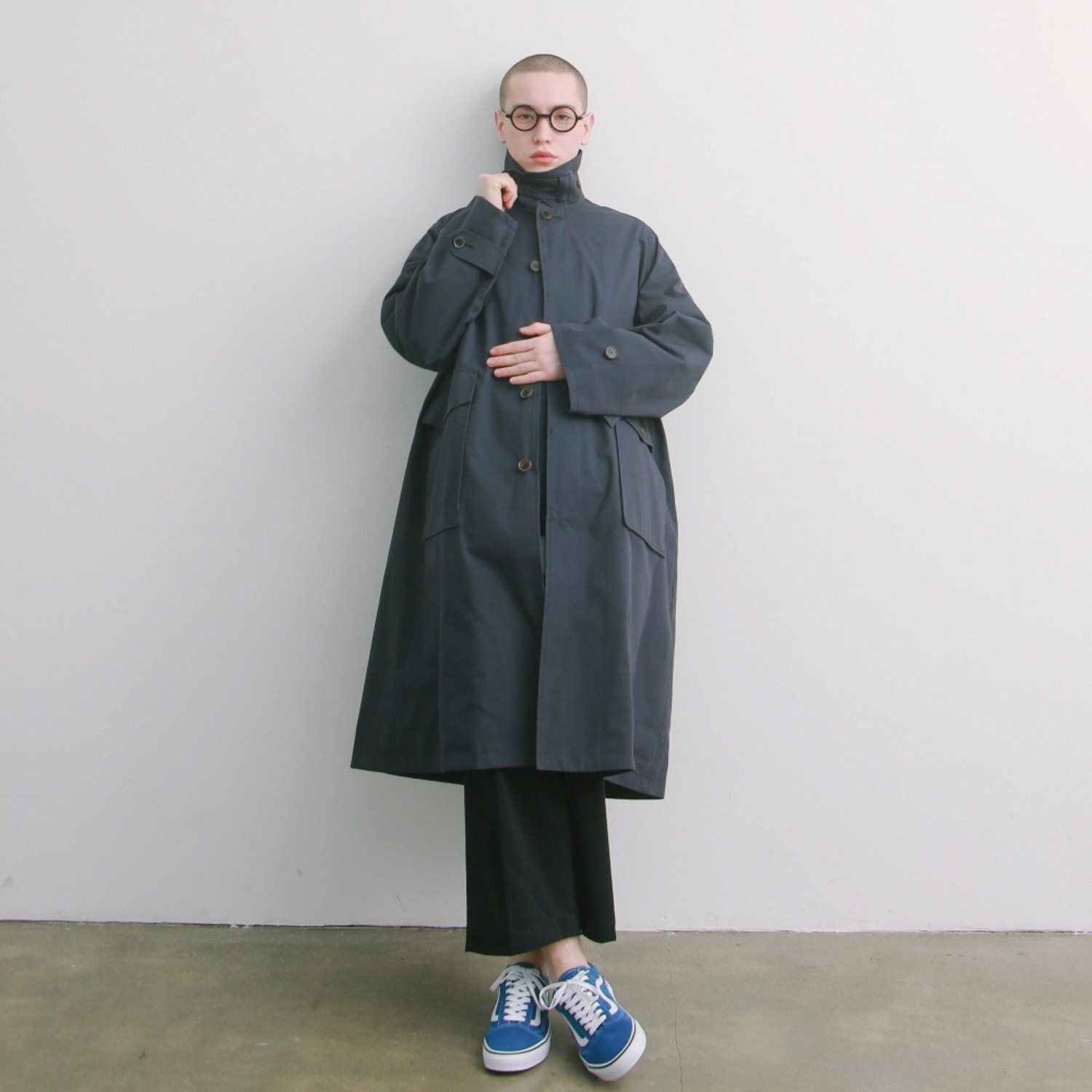 Reception Oversized Balmaccan Coat (Navy)