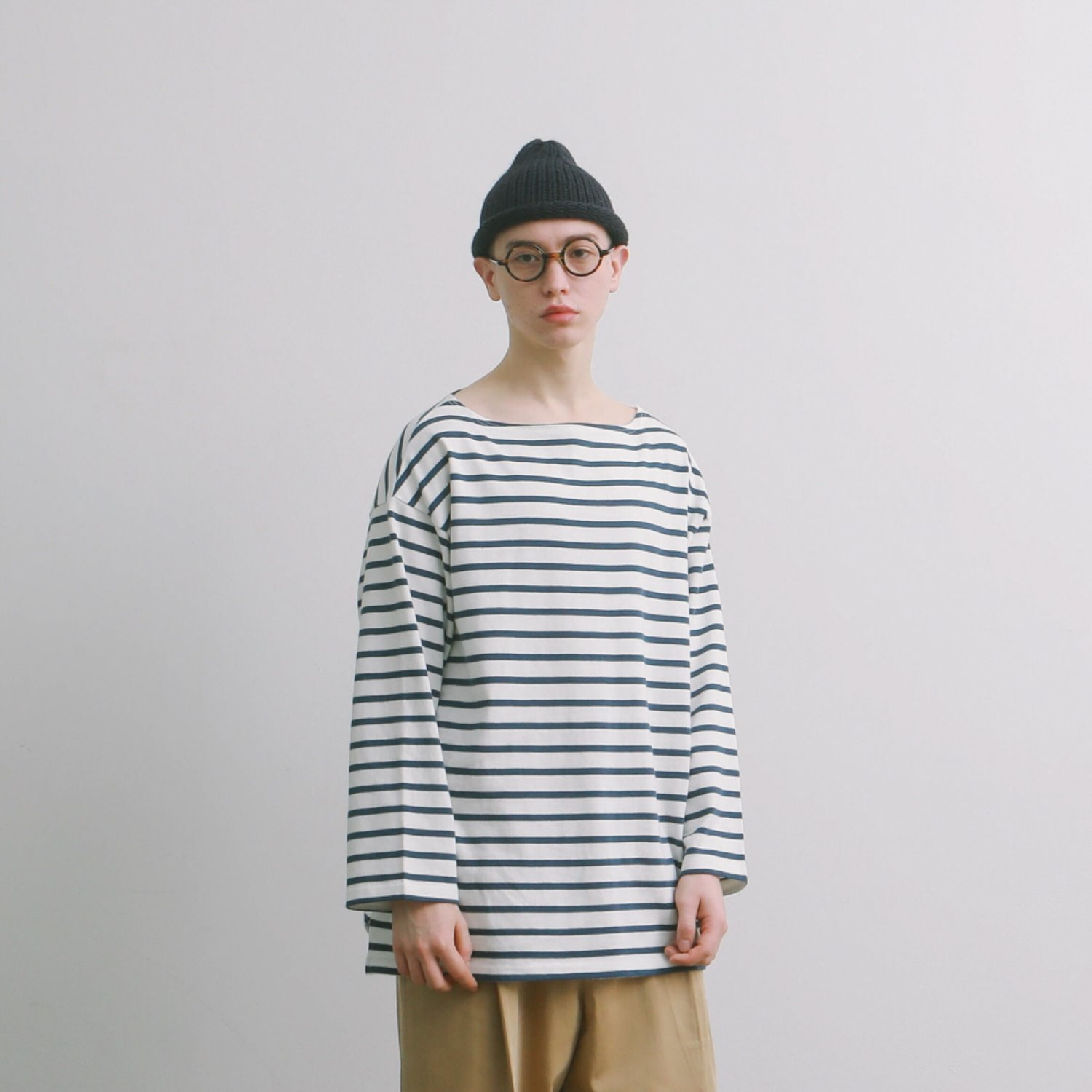 Room Service 34 Sleeve Stripe Oversized Basque Shirts (Wair Force Stripe)