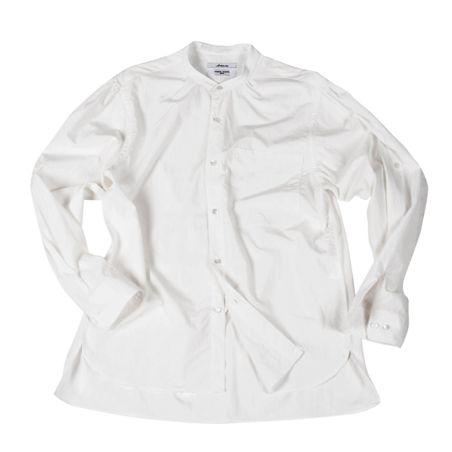 Corozo Makers Pin Band Collar Shirts (off white)