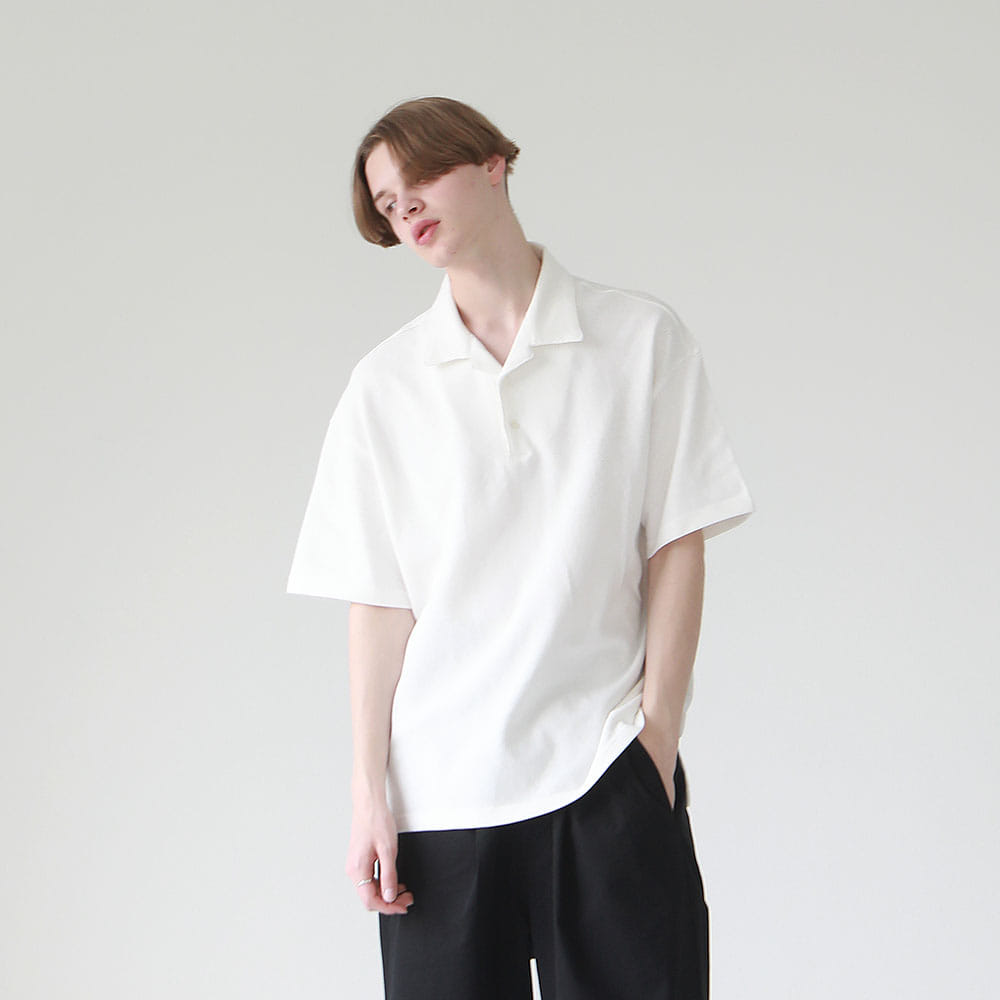 ¡che che! Big Silhoutte Pique Open Colloar Polo (off white)
