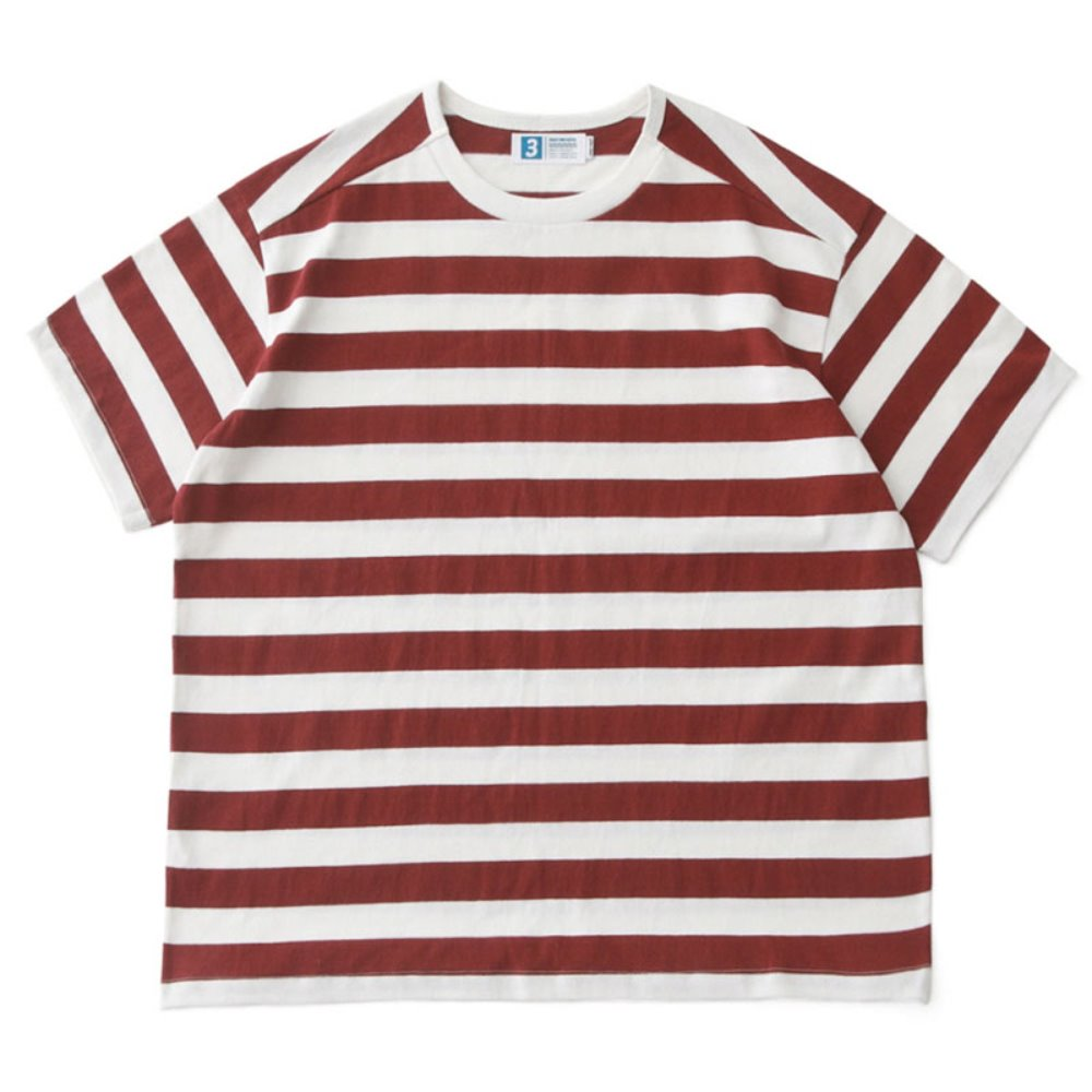 Remixed Rib Oversized Border Tee with DAILYINN (Burgundy Stripe)