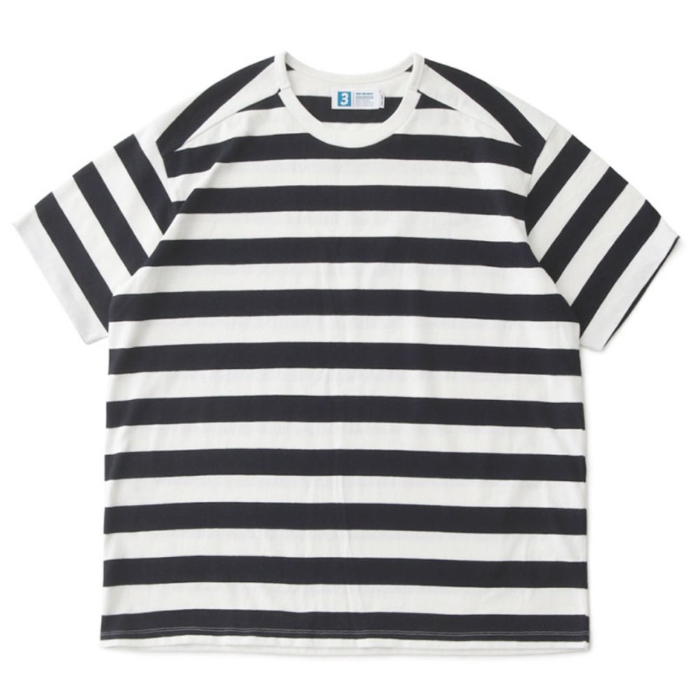 Remixed Rib Oversized Border Tee with DAILYINN (Navy Stripe)