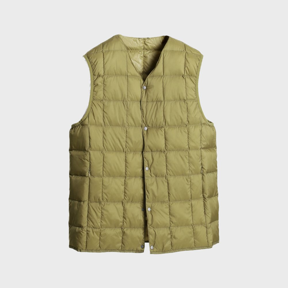 New V Neck Button Down Vest (Beige) TAION-001