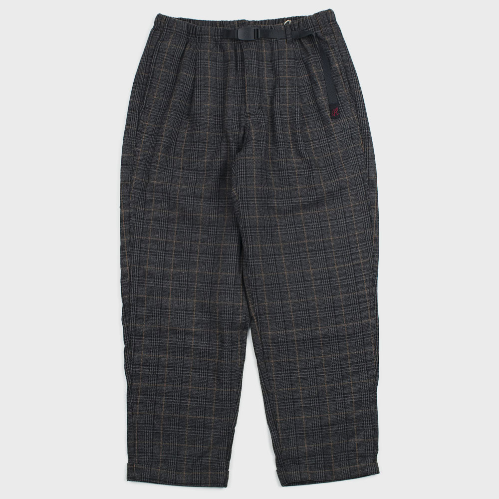 Wool Blend Tuck Tapered Pants (Glen Check Grey)