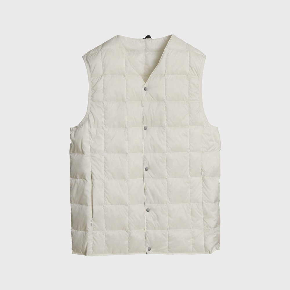 New V Neck Button Down Vest (White) TAION-001