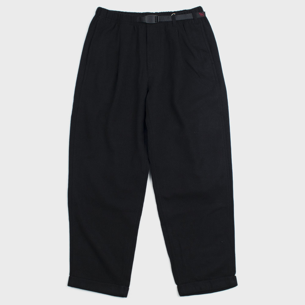 Wool Blend Tuck Tapered Pants (Black)