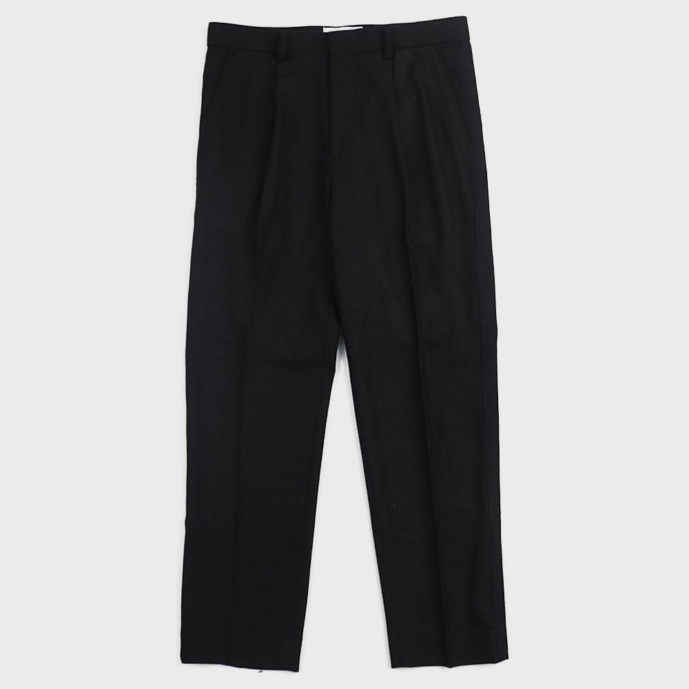 Side Taped Wool Slacks (Black)