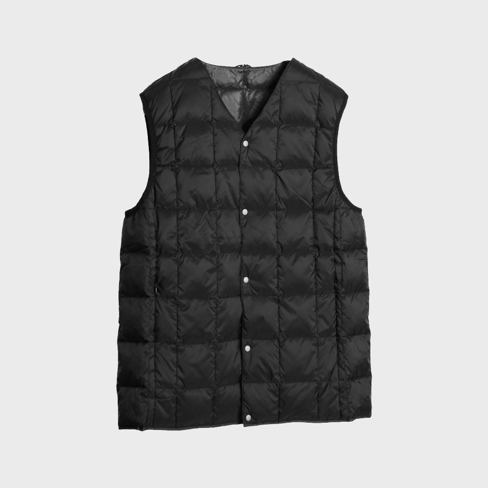 New V Neck Button Down Vest (Black) TAION-001