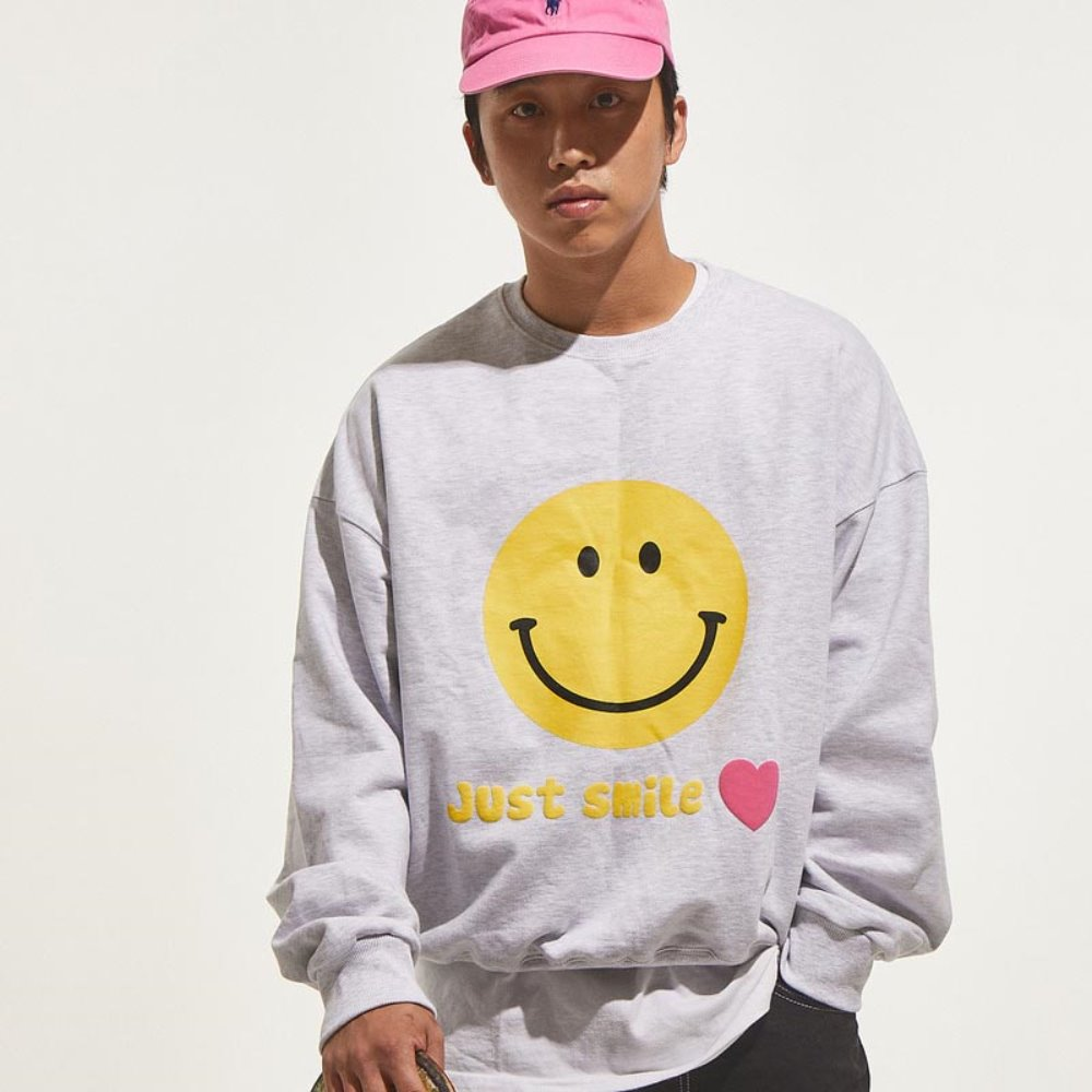 Smile Sweat Shirts (White Melange)