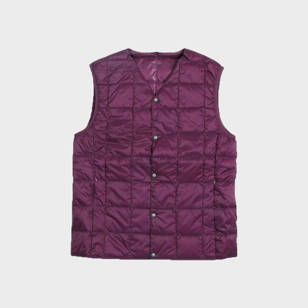 New V Neck Button Down Vest (Purple) TAION-001