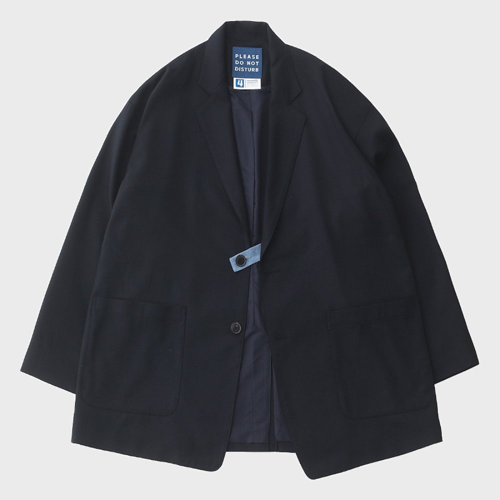 Reception 2 Button Oversized Set-Up Wool Jacket (Navy)