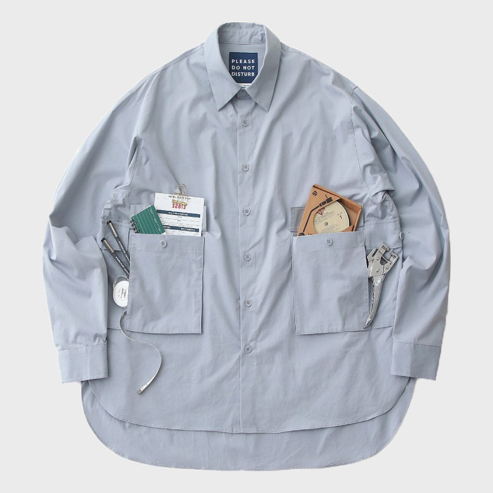 Hotel Mechanic Oversized Multi 4P Shirts (Cloud Blue Grey)