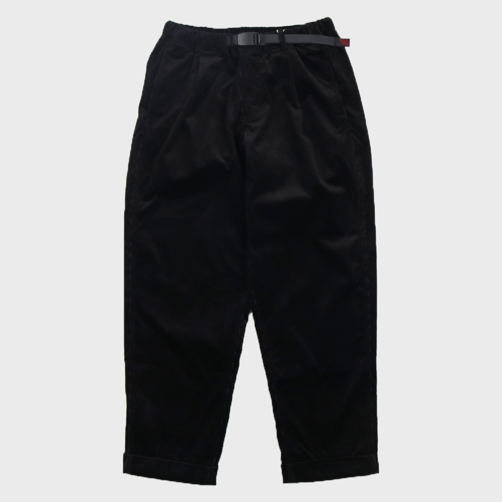 Coduroy Tuck Tapered Pants (Black)