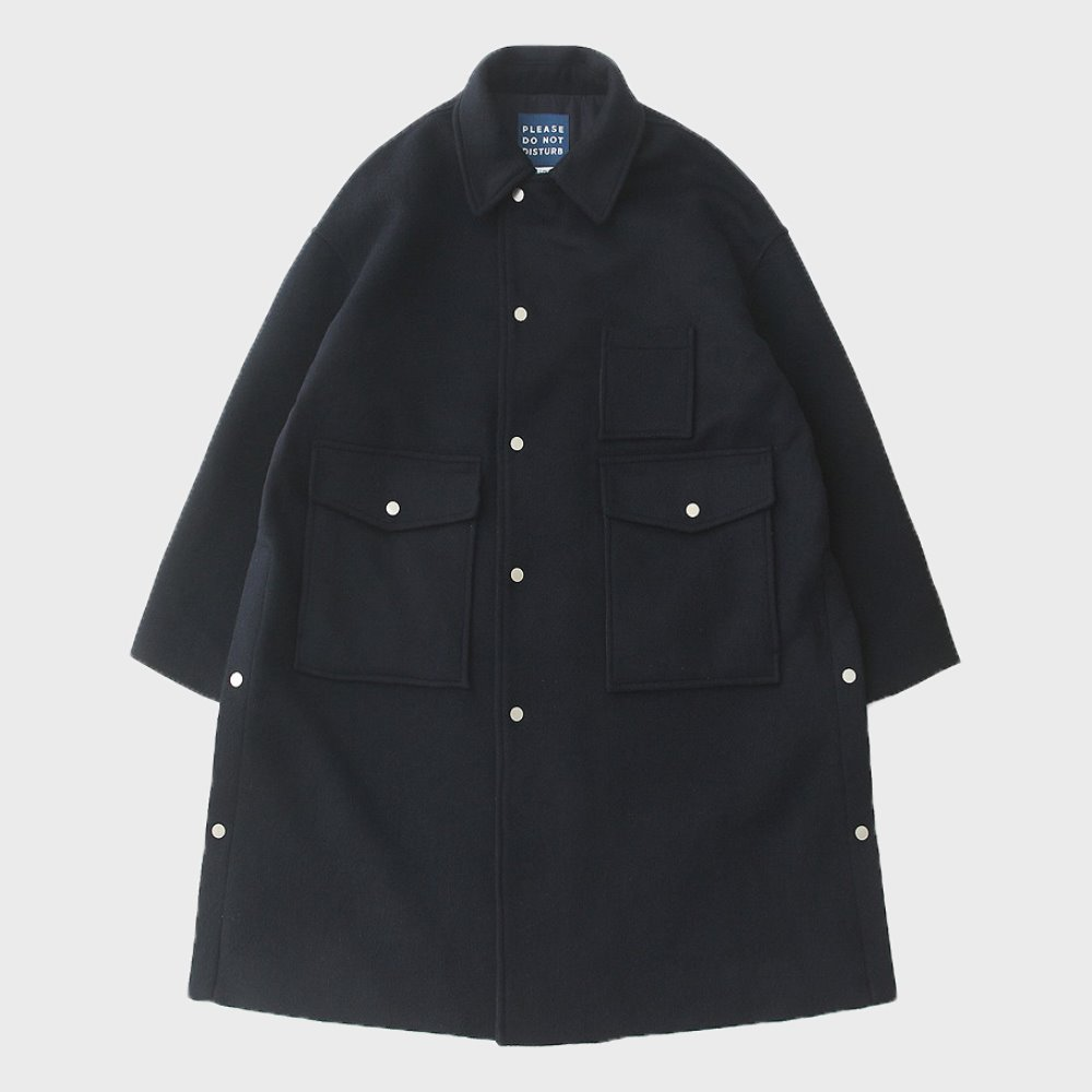 Door Man Uniform Heavy Wool (Double Cloth) Oversized Coat (Navy)