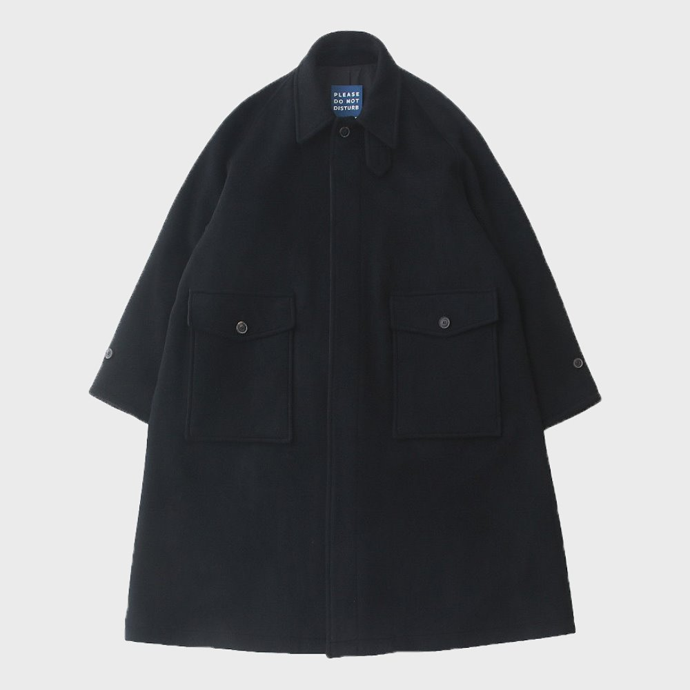 Reception Oversized Heavy Wool (Double Cloth) Balmacaan Coat (Black)