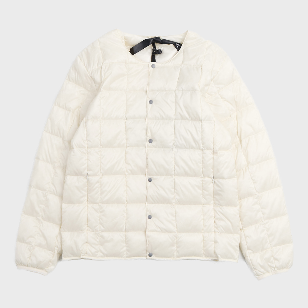 Crew Neck Button Down Jacket TAION-104 (White - Unisex)