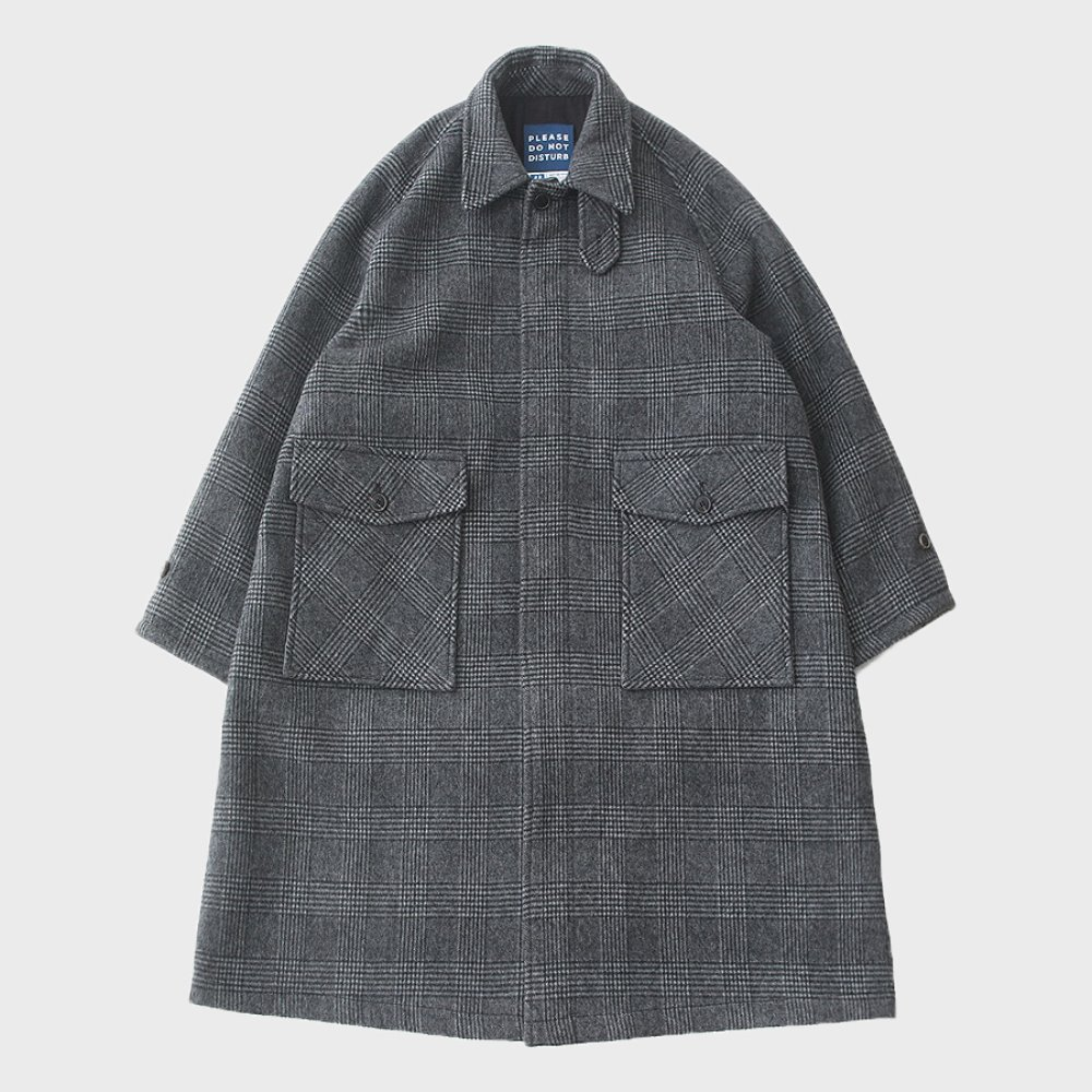 Reception Oversized Heavy Wool (DOUBLE CLOTH) Balmacaan Coat (Glen Check)